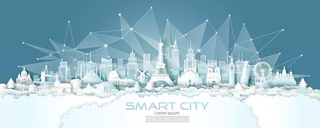 Communicatie van het technologie draadloze netwerk slimme stad met architectuur in europa.
