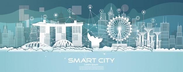 Communicatie van het technologie draadloze netwerk slimme stad met architectuur in singapore.