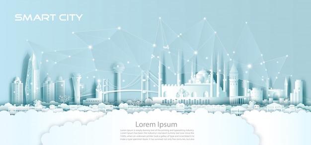 Communicatie van het technologie draadloze netwerk slimme stad met architectuur in turkije.