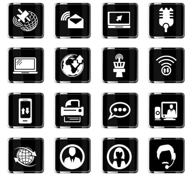 Communicatie vectorpictogrammen voor gebruikersinterfaceontwerp