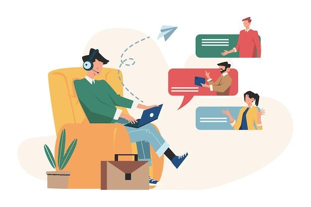 Communicatie via de sociale netwerkchat op internet