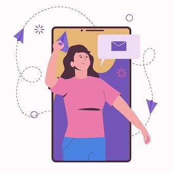 Communicatie via smartphone. het meisje stuurt een vliegtuig of een bericht.