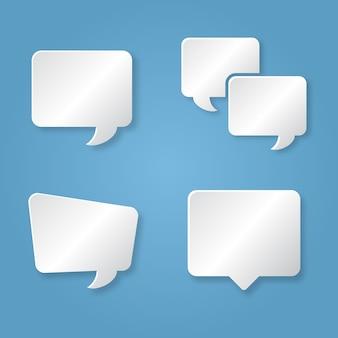 Communicatie vierkante bellen in papierstijl op de blauwe achtergrond
