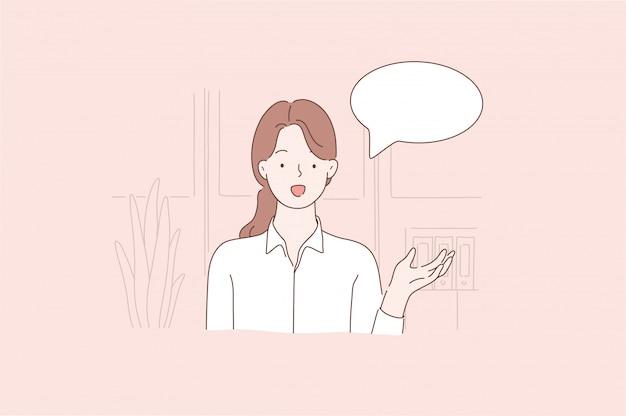 Communicatie, zaken, reclame, promotie, tekstballon concept.