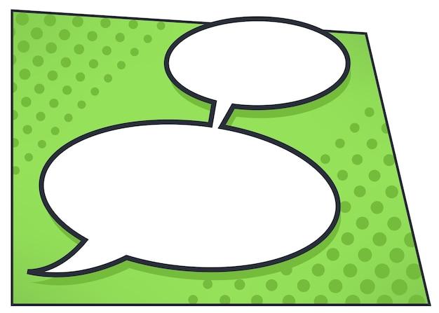 Communicatiebellen, dialoog met replica in stripboekstijl. gesprek en bericht, lege banner met kopie ruimte voor tekst. cirkels met gedachtedoos, denken zingen, vector in vlakke stijl
