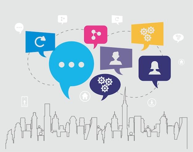 Communicatiebellen en stadsgezicht