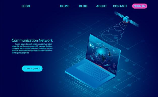 Communicatienetwerk met satelliet draadloos met draadloze apparaten en computer. illustratie
