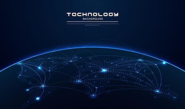 Communicatietechnologie voor internetbedrijf wereldwijd wereldnetwerk en telecommunicatie op aarde