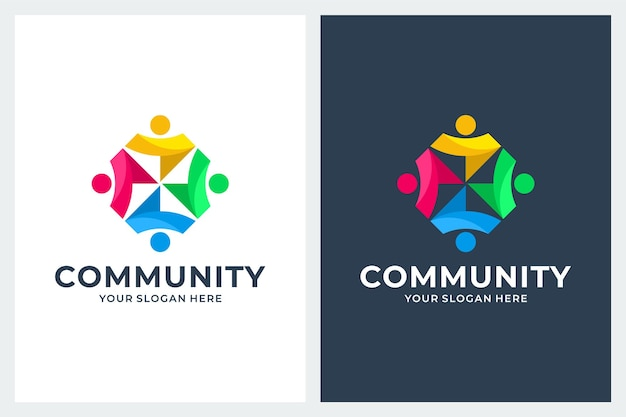 Community, teamwork, inspiratie voor logo-ontwerp Premium Vector
