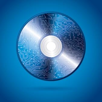 Compact discontwerp over blauwe achtergrond