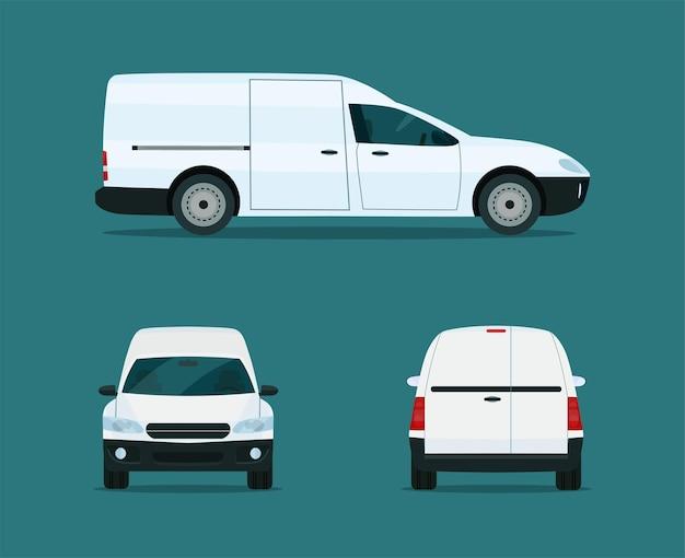 Compacte bestelwagen set. ð¡argo bestelwagen met zij-, voor- en achteraanzicht. vlakke stijl illustratie.