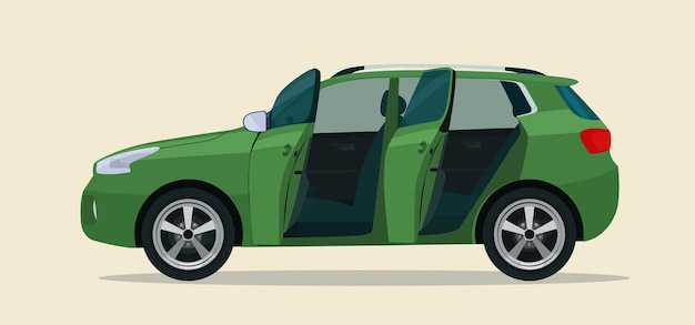 Compacte cuv-auto met open bestuurders- en passagiersdeur. illustratie.