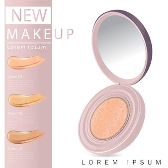 Compacte foundation advertenties, aantrekkelijke make-up
