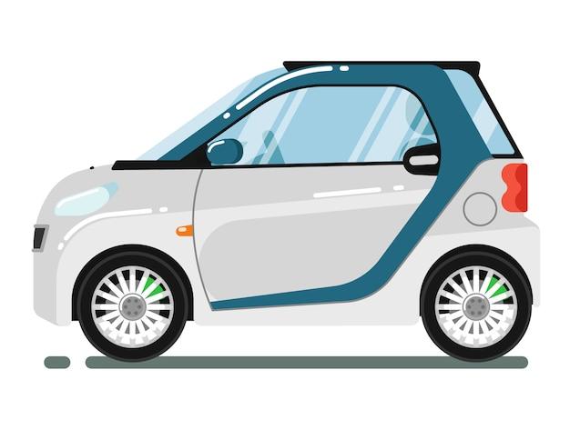 Compacte slimme coupé die op wit wordt geïsoleerd