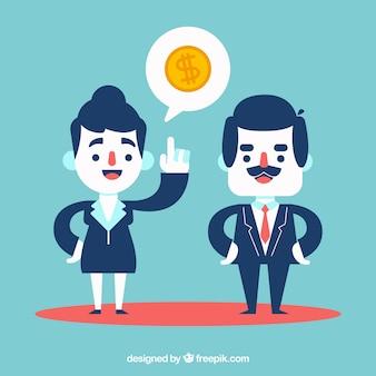 Compañeros de trabajo hablando de economía
