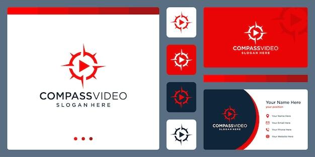Compass-logo-inspiratie met logo voor video-afspeelknop. premium vector