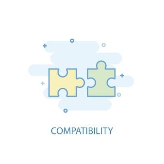 Compatibiliteit lijn concept. eenvoudig lijnpictogram, gekleurde illustratie. compatibiliteit symbool plat ontwerp. kan worden gebruikt voor ui/ux
