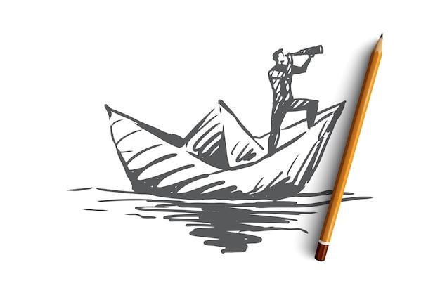 Competentie, baan, vaardigheid, management, efficiëntieconcept. hand getekende man op papier boot concept schets.
