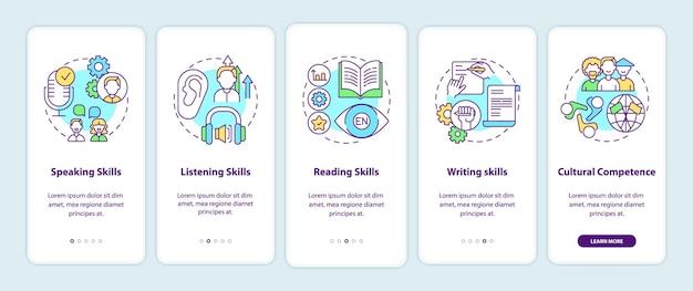 Competenties voor het leren van talen onboarding mobiele app-paginascherm met concepten