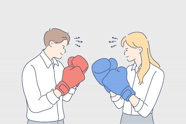 Competitie, boksen, uitdaging, vechten, rivaliteit, bedrijfsconcept