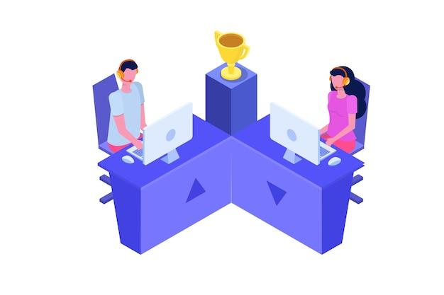 Competitie cybersport computer gaming isometrische concept