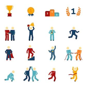Competitie pictogrammen platte set