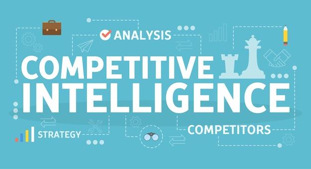 Competitieve intelligentie concept. idee van bedrijfsorganisatie