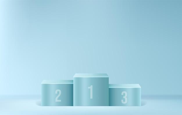 Competitiewinnaar podium op minimale scène aankondigingsprijs podium blauw voetstuk voor productweergavesjabloon