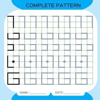 Compleet patroon. tracing lines-activiteit voor vroege jaren. preschool werkblad voor het oefenen van fijne motoriek. lijnen traceren. verbetering van vaardigheidstaken.