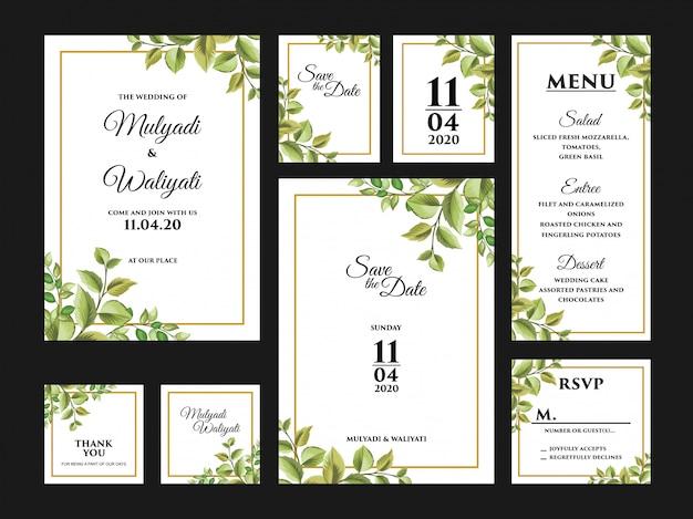 Complete bloemen bruiloft uitnodigingskaart ontwerpsjabloon set