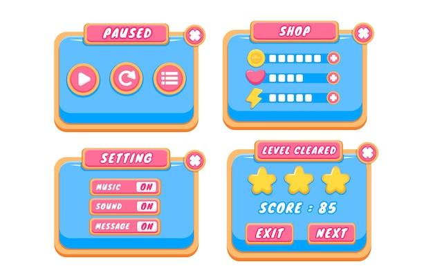 Complete set pop-up, pictogram, venster en elementen voor niveauknoppen voor het maken van middeleeuwse rpg-videogames