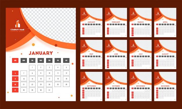 Complete set van 12 maanden, jaarlijks kalenderontwerp met ruimte voor
