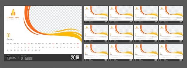 Complete set van 12 maanden, jaarlijks kalenderontwerp voor 2019 met