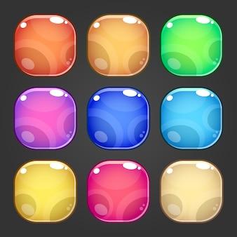 Complete set van niveau vierkant kleurrijk knopspel pop-up, pictogram, venster en elementen