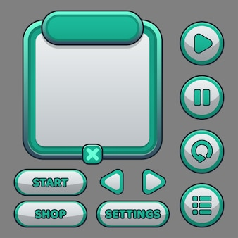 Complete set van pop-up, pictogram, venster en elementen van niveauknoppen