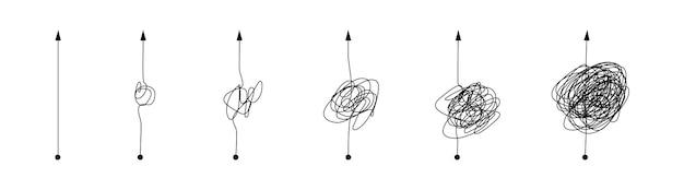 Complexe en eenvoudige lijnpadset. krabbellijnknoop van gecompliceerde tot eenvoudsvormen voor psychotherapiebeslissing, geest of zakelijke chaos, manier om moeilijke keuze gemakkelijker te maken.