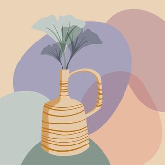 Compositie in boho-stijl met vaas en organische vormen abstract minimaal ontwerp voor poster of print