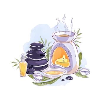 Compositie met aromalamp, etherische olie, stenen en aromatische bloemen.
