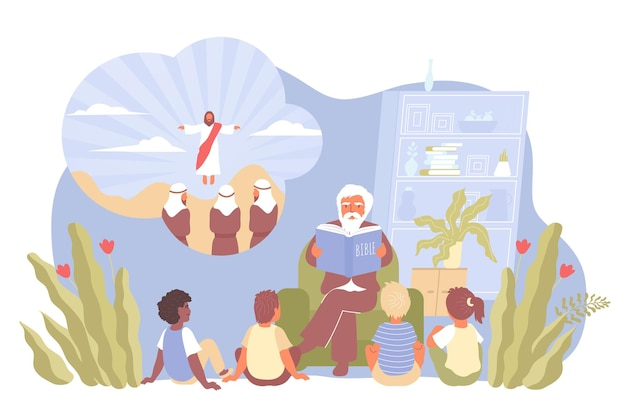Compositie met kinderen zitten en luisteren naar preken van een priester