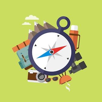 Compositie met kompas en campingaccessoires