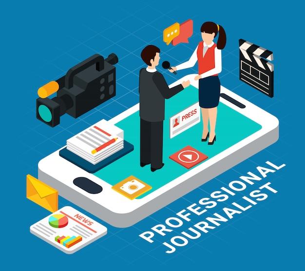 Compositie met pictogrammen en smartphone met interview onderwerp en verslaggever menselijke personages
