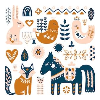 Compositie met volkskunstdieren en decoratieve elementen.