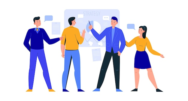 Compositie van kantoorscènes met een groep collega's die strategie bespreken aan boord