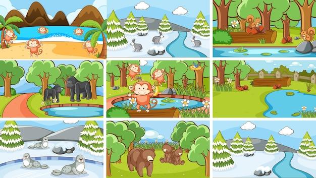 Compositons set van dieren in het wild