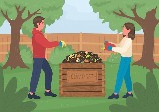 Composteren. man en vrouw compost buiten in de tuin maken. recycling concept.