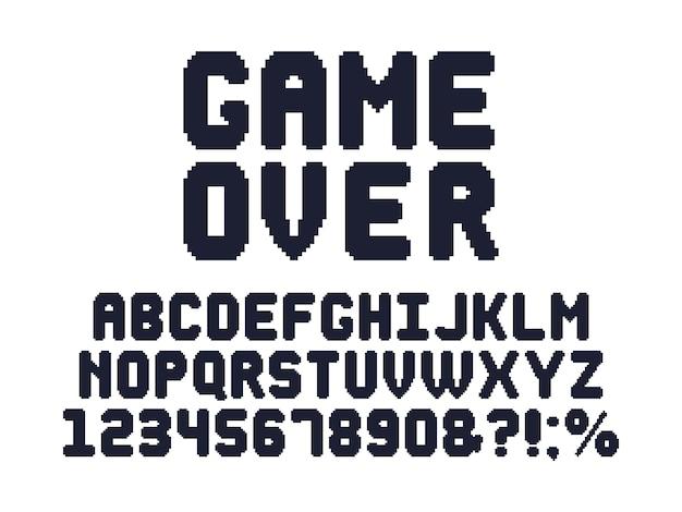Computer 8 bit spellettertype. retro videogames pixel alfabet, 80s gaming typografie design en pixels letters ingesteld