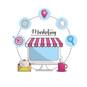 Computer aan marketing bedrijfs en technologiepictogrammen