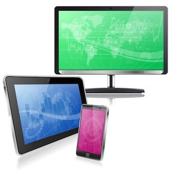 Computer apparaten. blauwe tablet, roze mobiele en groen scherm tv