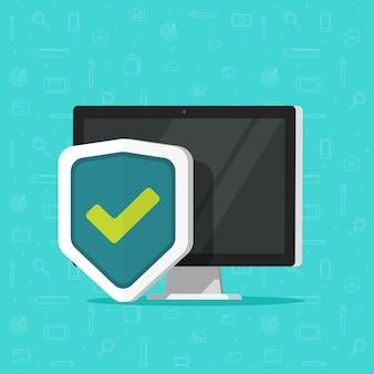 Computer beschermd met schild als beveiligingstechnologie pictogram geïsoleerd plat bureaublad