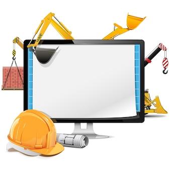 Computer bouwproject geïsoleerd op wit